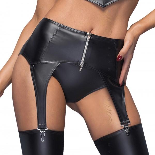 Damen Dessous Gogo High waist wetlook Strapsgürtel mit silbernem Zipper in schwarz
