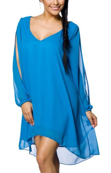 Blaues Tunikakleid mit V-Ausschnitt gefütterter Torso und geschlitze-Ärmeln gerader Schnitt