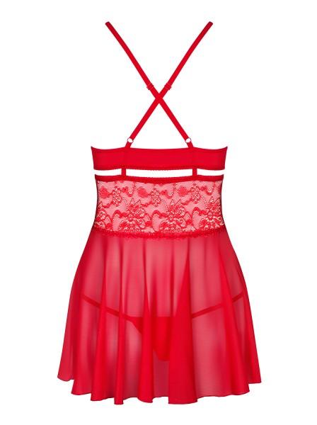 Damen Dessous Reizwäsche Babydoll Hemdchen Negligee in rot transparent mit Bänder sowie Netz und Str