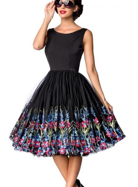 Schwarzes knielanges Swing Kleid im High Waist Schnitt mit Netz und Stickereien und Carmen-Ausschnit