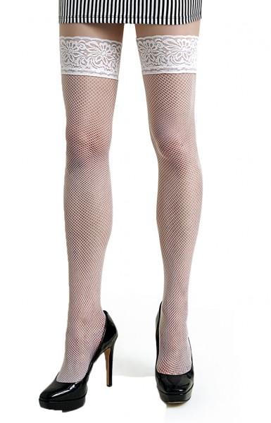 Damen Dessous halterlose Strümpfe aus Spitze in weiß Stockings mit Silikonstreifen und Spitze