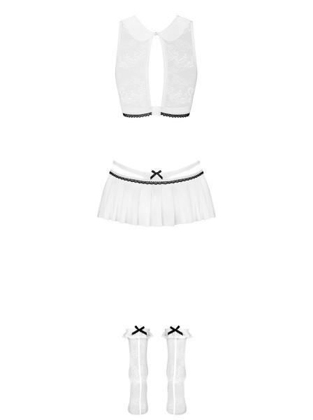 Damen Dessous Set Studentin Kostüm erotisch Top aus Mesh und Spitze mit String und Rock transparent