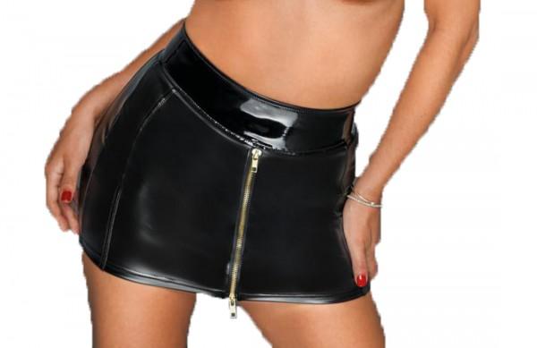 Frauen Dessous Rock mit beidseitigen Reißverschluss und Gürtel Bund in wetlook schwarz