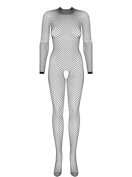 Frauen Grob Netz Dessous Bodystocking Body in Schwarz mit Multistretch und langen Ärmeln transparent