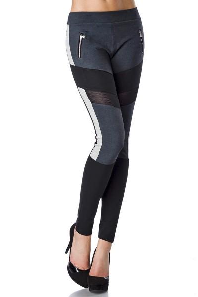Schwarze Stoffhose mit grauen Effektstoffeinsätzen und Reißverschlüssen an der Front sportliche Legg
