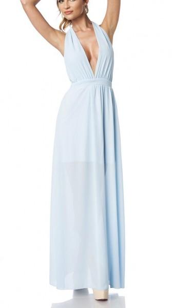 Hellblaues Neckholder Wickelkleid aus leichtem Material langer Schleife zum binden am Nacken Rückenf