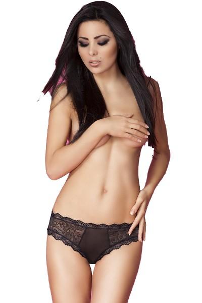 Erotische Dessous Panties in schwarz mit Spitze sexy Damen Slip