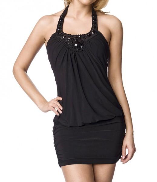 Schwarzes Jersey Kleid mit Schmucksteinen aus weichem Material Damen Neckholder Sommerkleid S/M