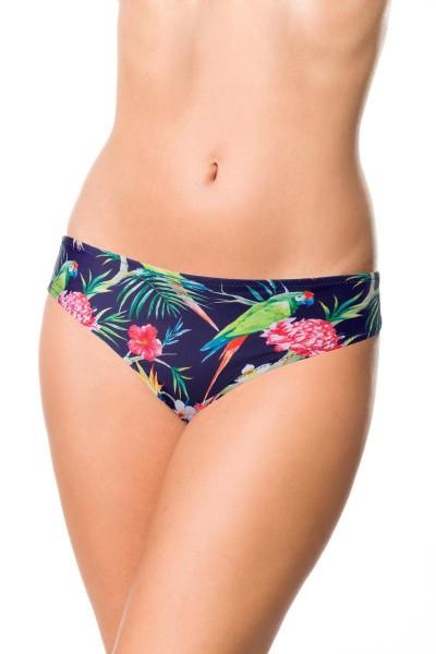 Elastisches Damen Bikiniunterteil Höschen Panty Beinausschnitt und Blätter Blüten Papagei Muster bla