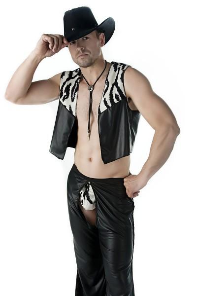 Sexy Männer Dessous Cowboy-Set aus Tanga, Weste und Hose aus Kunstleder in zebra weich elastisch Kar