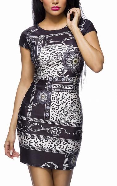 Kurzes Partykleid mit kurzen Ärmeln Leopard und Barock Muster runder Ausschnitt