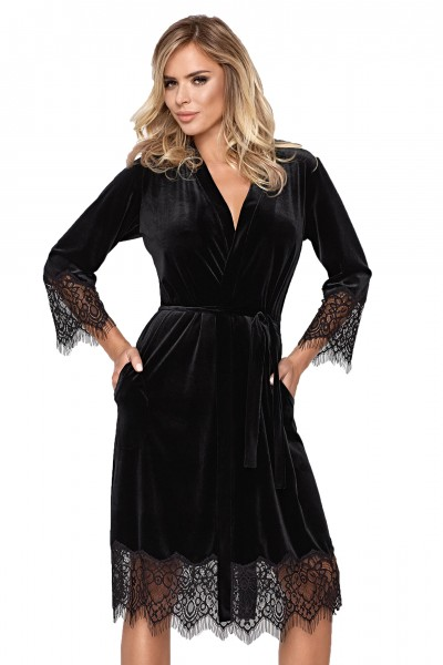Schwarzer langer Frauen Morgenmantel Gown aus samtigen Material und Spitze weich blickdicht