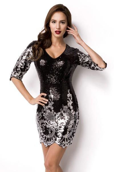 Schwarz Silbernes kurzes Abendkleid aus Pailletten glänzend mit tiefem Rundhals Ausschnitt Reißversc