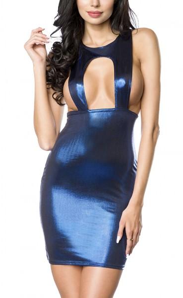 Blaues kurzes Wetlook Kleid ohne Ärmeln Rückenfrei enges Rockteil tiefer Ausschnitt Kleid