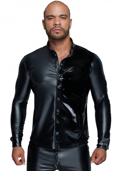 Langärmliges Herren Powerwetlook & PVC Shirt mit Knopfleiste in schwarz Männer Hemd