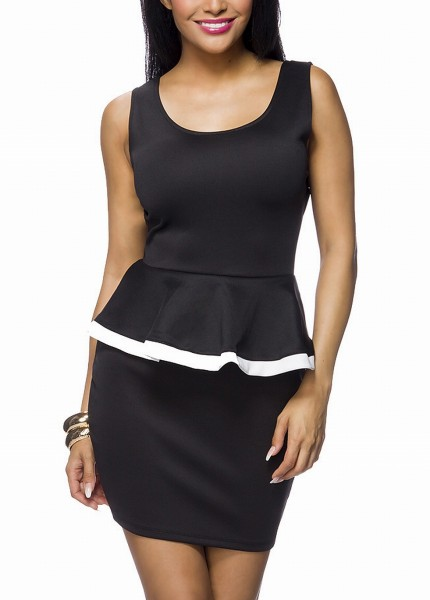 Schwarzes Kleid mit Rüsche und tiefem Rückenausschnitt sowie einer Schleife Volantkleid