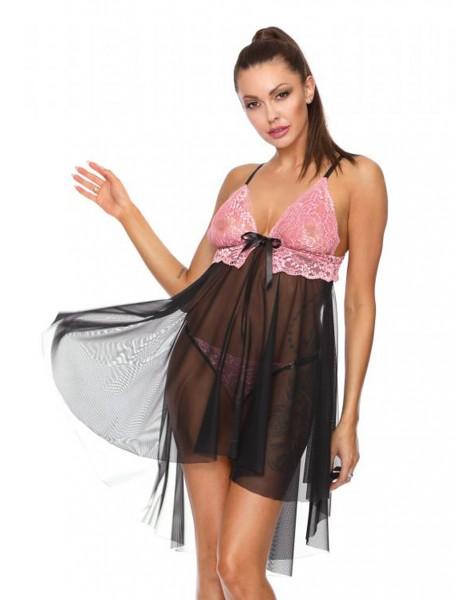 Frauen Dessous Set schwarzes Tüll Babydoll mit rosa Spitze und String Tanga transparent erotisch Dam