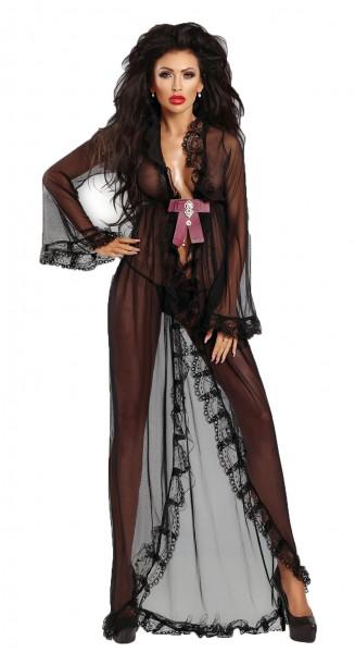 Schwarzes FrauenPeignoir Set transparent Robe Morgenmantel lang aus Tüll und Spitze mit Strass und S