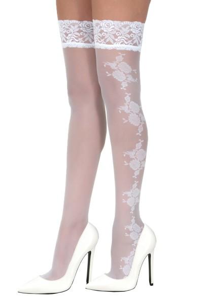 Halterlose Damen Dessous Strümpfe weiß mit Blumenmotiv, Spitze und Silikonstreifen Stockings 20 den