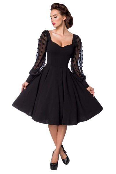 Schwarzes knielanges Swing Kleid im High Waist Schnitt mit Spitze und Herzausschnitt Vollglocke und