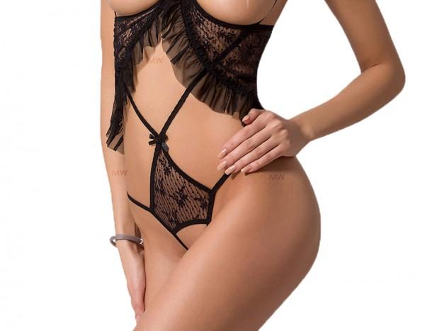 Schwarzer erotischer Damen mini Body transparent aus Tüll und Spitze ouvert brustfrei