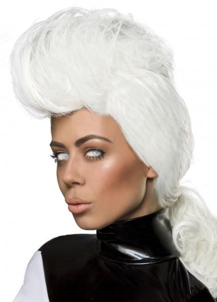 Weiße Damen Langhaar Perücke Wig mit hoch toupiert mit Zopf Perücke mit Netz