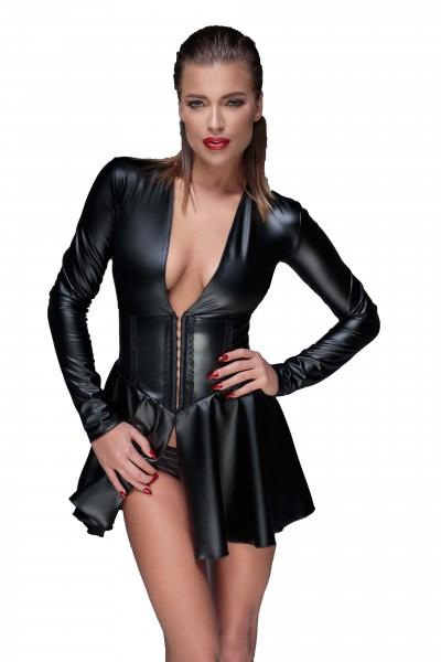 Schwarzes Damen Dessous wetlook fetisch Minikleid Abendkleid mit Schnürung und Ausschnitt