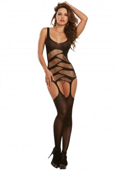 Dessous Bodysuit Damen Body mit Strapshalter und Strümpfen schwarz transparent gemustert