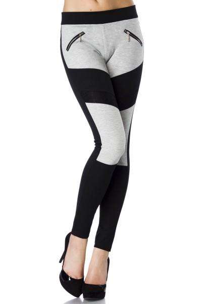 Schwarz graue Stoffhose mit Effektstoffeinsätzen und Reißverschlüssen an der Front sportliche Leggin