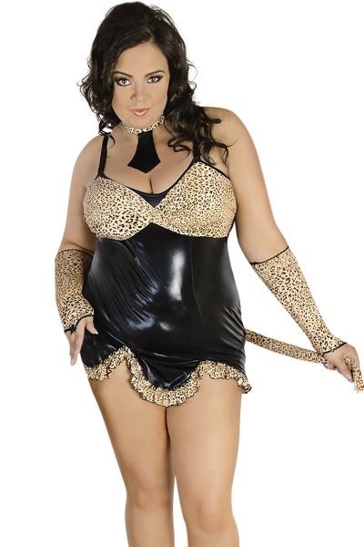 Erotisches 4-teiliges Leopraden Outfit wetlook Dessous Kostüm aus Kleid, Schwanz Krawatte und Armstu