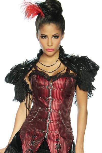 Schwarze kurze Damen Schulterjacke aus Kunstleder und Spitze mit Stehkragen und Nieten