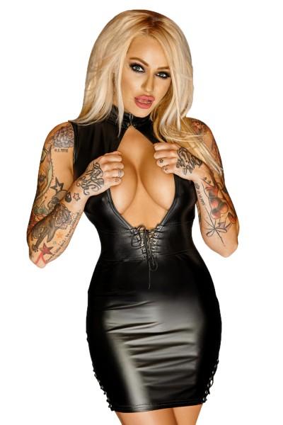 Schwarzes Damen Dessous Minikleid aus wetlook Leder-Imitat dehnbar mit Hakenverschluss neckholder