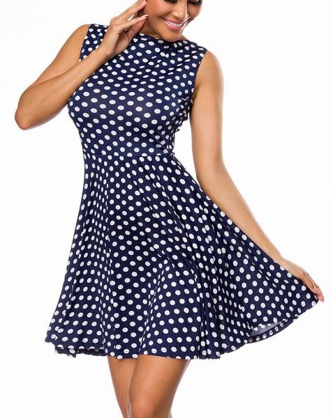 Blaues Kleid mit weißen Punkten und ausgestelltem Unterteil Tanzkleid Retrokleid 50er Jahre