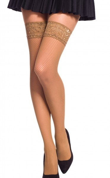 Damen Dessous halterlose Strümpfe aus Spitze in haut Stockings mit Silikonstreifen und Spitze