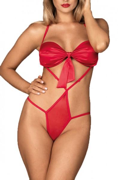 Frauen BH Dessous Teddy Body in Rot mit Riemchen und Schleife transparent Valentins Neckholder aus S