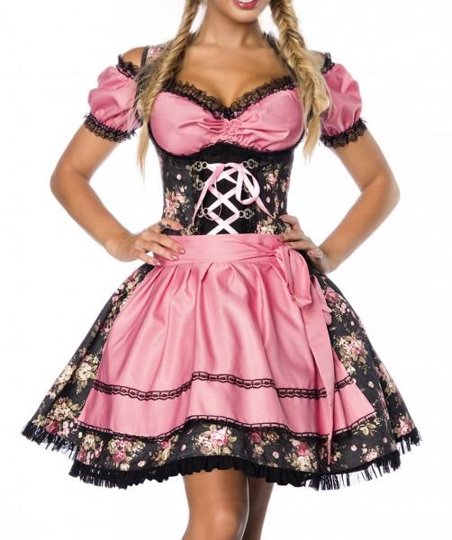 Dirndl Kleid Kostüm mit Bluse und Schürze aus Denim Stoff und Spitze Oktoberfest Dirndl schwarz/rosa