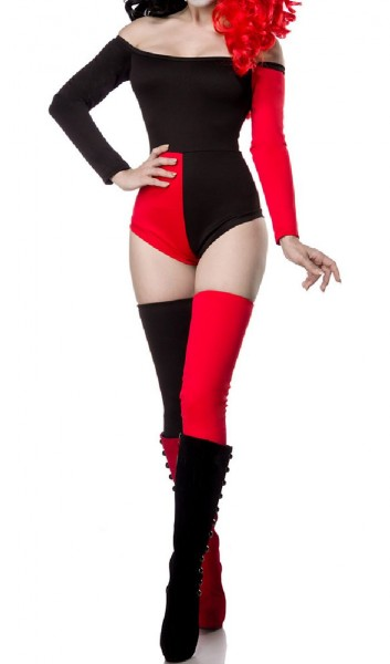 Damen Harlekin Catsuit Kostüm Verkleidung mit Catsuit, Stulpen in schwarz rot schulterfrei