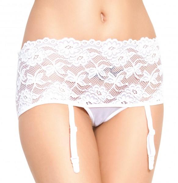 Damen Dessous Strapsgürtel Garter Belt mit Strumpfhalter Straps-Panty weiß
