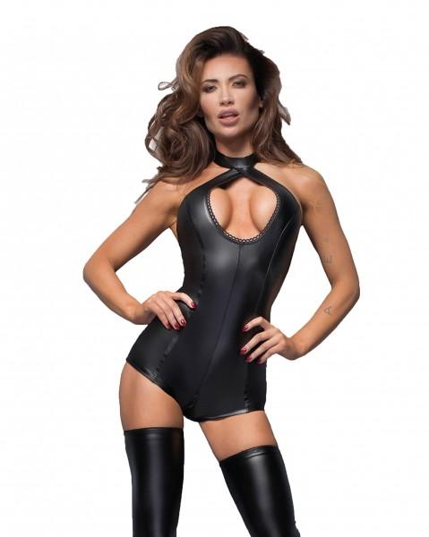 Erotischer Damen Dessous wetlook Gogo Body in schwarz mit Sptizen-Ausschnitt und Reißverschluss
