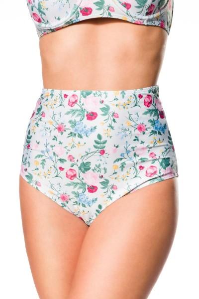 Elastischer Damen Bikiniunterteil Höschen Panty Beinausschnitt und Blätter Blüten Blumen Muster weiß
