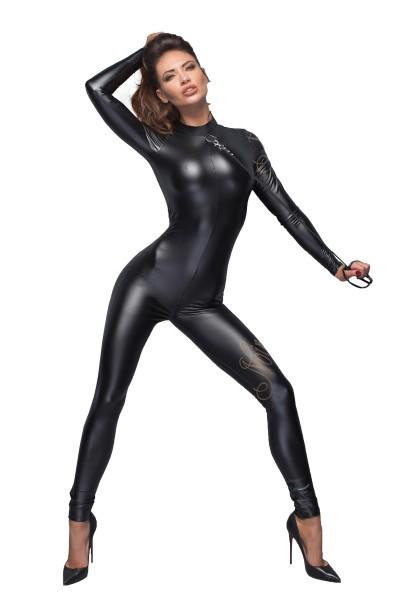 Damen erotischer fetisch Powerwetlook Overall in schwarz mit Ring und Zwei Wege Reißverschluss
