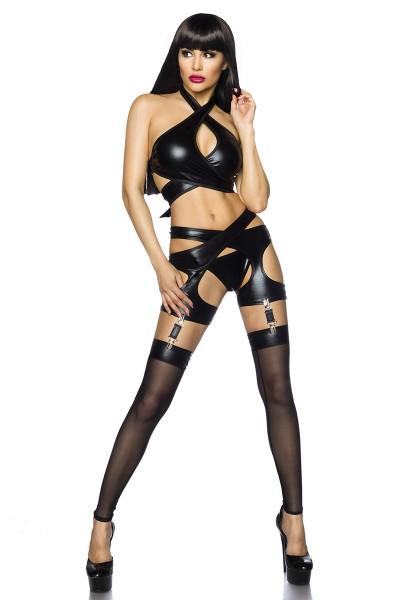 Erotisches Damen Dessous wetlook Set aus Neckholder Top Strapsgürtel, Slip und Stockings in schwarz