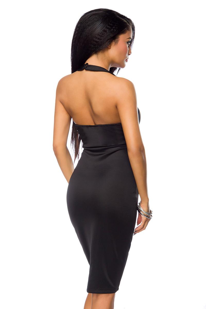 695960f1100 ... Vorschau  Schwarzes Neckholder Kleid mit Stehkragen und Push Up Cups  tiefer Ausschnitt Größe S ...