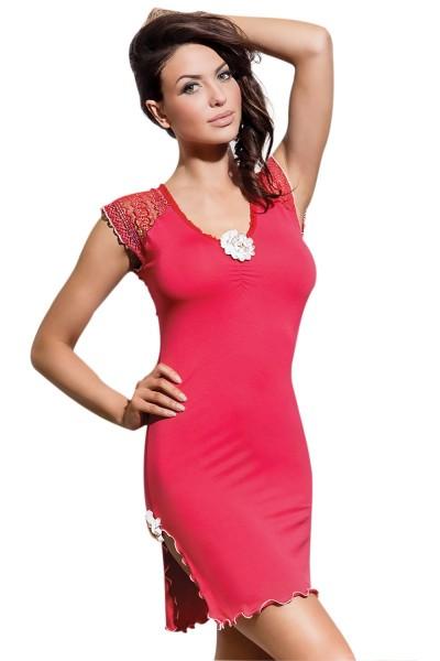 Pinkes coral Coctail Kleid mit Spitze Damen Nachtkleid Abendkleid blickdicht dehnbar mit Schlitz Neg