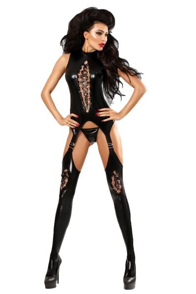Damen Dessous wetlook Bodystocking in schwarz mit Straps Strümpfe und String
