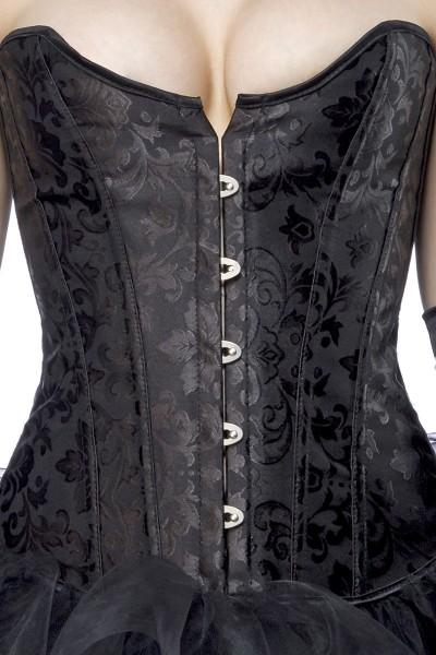 Schwarze Jacquard Corsage mit Schnürung am Rücken und Haken Verschluss vorn Ornamentmuster
