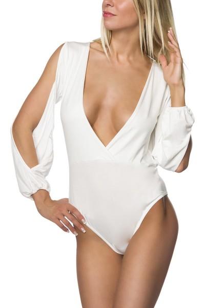 Erotischer Damen Body mit V-Ausschnitt und geschlitzten Ärmeln