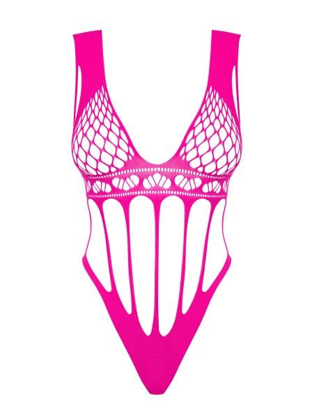 Frauen Dessous Teddy Body in Pink mit Netz und Bänder transparent aus Stretch Träger offen Ausschnit