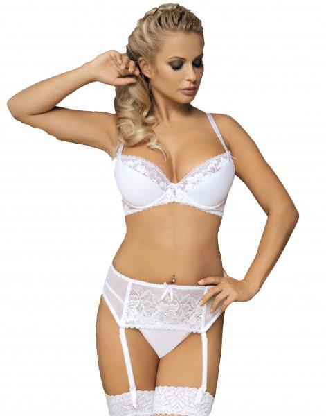 Erotisches Damen Reizwäsche Dessous Set aus BH mit Bügel Cups, Strapsgürtel und String in weiß blick
