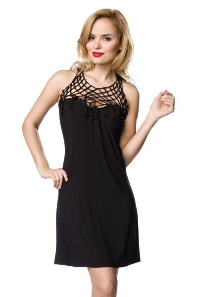 Jersey Kleid mit Schmucksteinen aus weichem Material Damen Neckholder Sommerkleid S/M